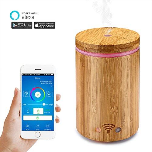 Nettoyeur Aroma Wi-Fi intelligent Diffuseur Huile Essentielle Bamboo Diffuser fonctionne avec AMAZON Alexa (Echo / Echo Dot) 4 en 1 multifonctionnel APP Contrôle à distance de la voix avec lumière LED colorée / sans eau AUTO Off 160ml