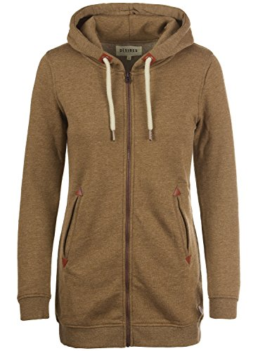 DESIRES Vicky Straight-Zip Damen Lange Sweatjacke Kapuzenjacke Sweatshirtjacke Mit Kapuze Und Fleece-Innenseite, Größe:L, Farbe:Cinnamon (5056)