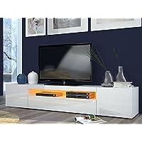 Porta tv moderno Mojito, mobile soggiorno Bianco, portatv design.Dimensioni in cm (L-A-P): 200 - 36,2 - 40