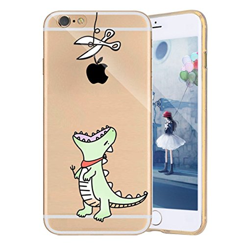 Custodia iPhone 6S Plus, Cover iPhone 6 Plus, TPU Silicone Cover Custodia per iPhone 6S Plus / 6 Plus Apple, Surakey Cellulari Accessori TPU Case Ultra Sottile iPhone 6S Plus Cover Trasparente Gatto R Dinosauro Verde