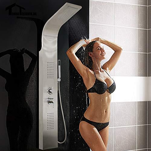 Hand-jet-massage-system (1set Curved Stainless Steel Shower Panel Rainfall Shower Set Massage System Faucet Jets with Hand Shower Tower Shower Column,United Kingdom)