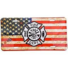 39d6b0a47fa8a Plaque d immatriculation Metal Camion Pompier Américain Fire Dept
