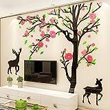 Neuer kreativer dreidimensionaler Wandaufkleber Sika Deer aus Acryl 3D, Wohnzimmer-TV-Hintergrund-Wandaufkleber, 1003 Baumhirsche schwarz und hellgrüne mittlere gelbe rosa Blumen, klein