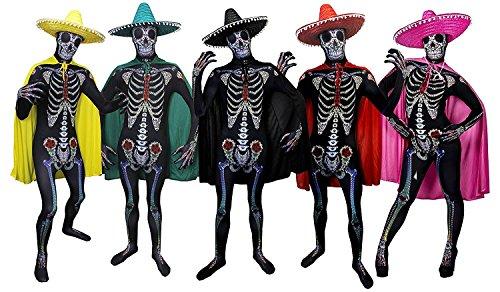 r Skull KOSTÜM VERKLEIDUNG =Bodysuit/Skinsuit = 4 Verschiedenen FARBENDE UMHÄNGEN + GLEICH FARBIGE Sombrero =Fasching+KARNEVALHALLOWEEN=Unisex= ROTER UMHANG +Sombrero-Large ()