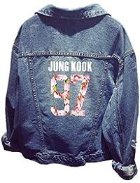 EMILYLE Women s Kpop BTS Bangtan Boys Long Sleeve Jeans Coat Outerwear  Jacket Jin Suga J- 0f012362c3