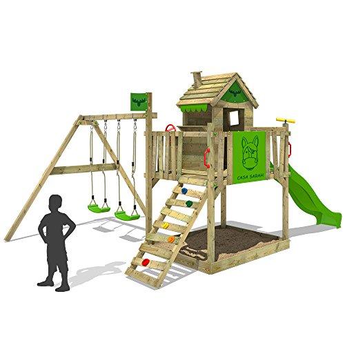 FATMOOSE Stelzenhaus RockyRanch Roll XXL Spielturm mit Doppelschaukel, Rutsche + Sandkasten