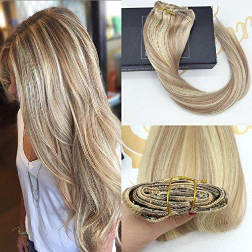 Sunny 120g/7Pcs 14Zoll/35cm Haarverlangerung Echthaar Clips Ombre Brun mit Blond Remy Echt Haarextension Clip in Echthaar Extensions