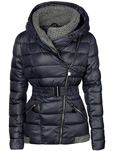 S'West Damen Winter Jacke GESTRICKTE Kragen GROßE Kapuze KURZ Mantel Skijacke, Farbe:Dunkelblau,...