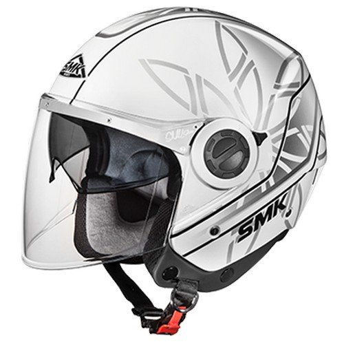 SMK GL162 Swing Essence Graphics Open Face Helmet (Gloss White, Grey and Black, M)