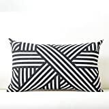 Pack of 2 Cushion Covers Plant cotton linen pillow cover squlumbar pillow cover, Side Sleeper 55X55,013- black and white braided lumbar pillow cover