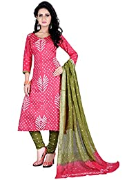 Taboody Empire Softly Pink Satin Cotton Handi Crafts Bandhani Work With Straight Salwar Suit For Girls And Women