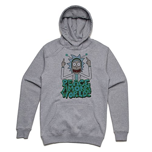 Green Peace among worlds Rick and Morty design Unisex Hoodie Grau