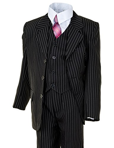 Festlicher 5tlg. Jungen Anzug in vielen Farben mit Hose, Hemd, Weste, Krawatte und Jacke M313Nsw Schwarz Nadelstreifen Gr. 12 / 140 / 146 (Herren-nadelstreifen-hemd)