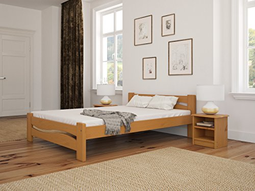 Solid Pine Wooden Bed Frame King Size 5ft In Alder Colour & Sturdy Thick Slats