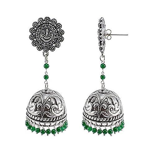 Silvestoo India Emerald Green Quartz Ganesha Studs Jhumka-Indian Jewellery-Traditional Earrings PG-108003