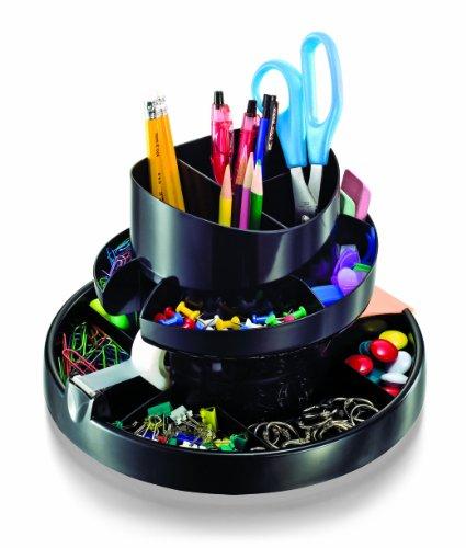 Officemate 26255 Deluxe Dreh-Organizer, 16 Fächer, recycelt, Schwarz (Organizer Deluxe)