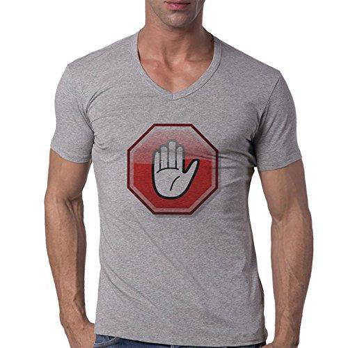 Danger Sign Warning Caution Hand Herren V-Neck T-Shirt Grau