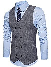 Boom Fashion Chaleco Hombre Blazers Traje Sin Manga Formal Negocios Slim Fit de4a6fb2532