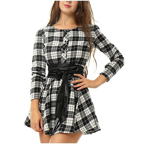Andopa Damen einreiher tunika mit gürtel design-rundhals kleider kurz L Grau - Einreiher Mit Gürtel