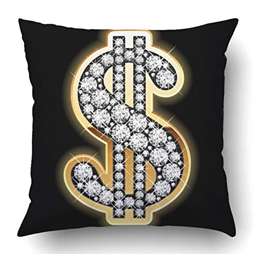 RAINNY Throw Pillow Covers Sign Bling Dollar Symbol in Diamonds Gold Blink Jewel Wealthy Money Luxury Jewelry Polyester Square Hidden Zipper Decorative Pillowcase 18x18 inch