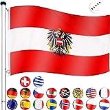 FLAGMASTER® Aluminium Fahnenmast 6,5m + Flagge, 5fach höhenverstellbar, 3 Jahre Garantie, 18 Verschiedene Fahnen zur Wahl, Komplettset
