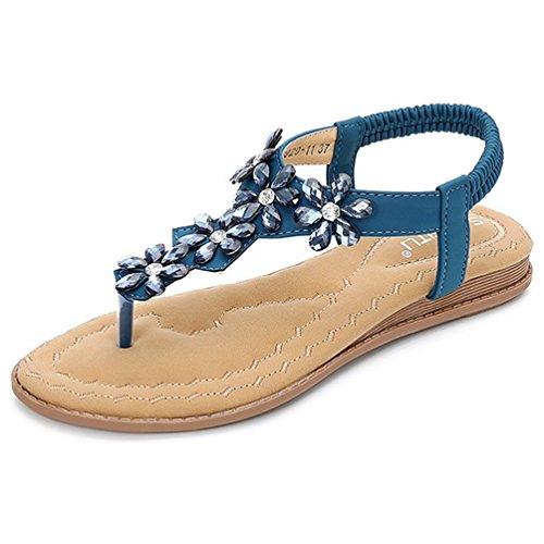 JRenok Frauen T-Strap Perlen Blume Gladiator Flache Sandalen Funkeln Flip Flops Sommer Strandsandalen Kleid Schuhe (Kalb-leder Gladiator Sandalen)