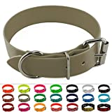 LENNIE BioThane Halsband, Edelstahl-Rollschnalle, 38 mm breit, Größe 45-55 cm, Beige/Khaki, Aufdruck möglich