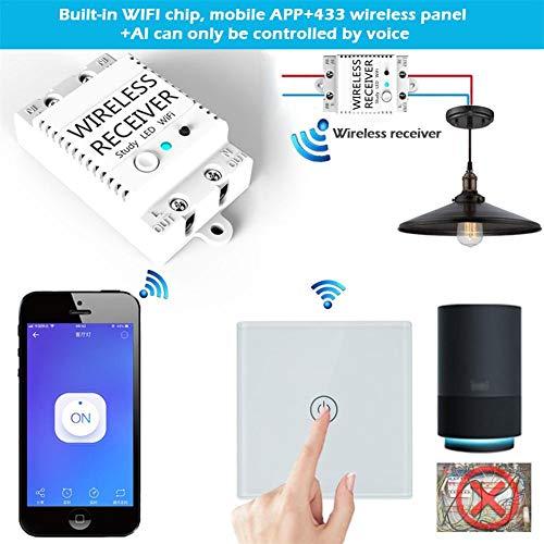 iBaste WiFi Intelligenter Drahtlos Schalter, DIY Smart Wireless Lights Schalter Kit, WiFi Smart Switch Monitor WiFi + 433 + Voice-Activated Wireless-Schalter Remote Intelligent Control Lichtschalter