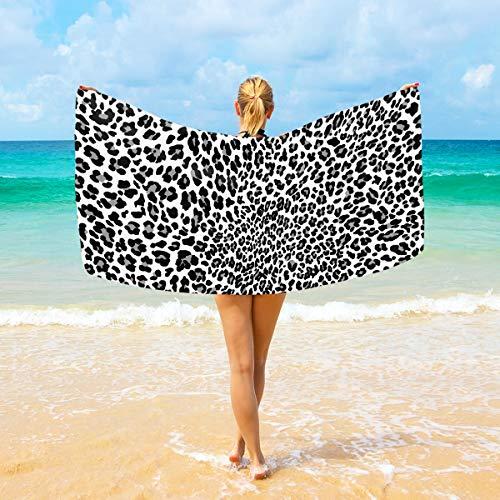 Ahomy Mikrofaser-Strandtücher schwarz weiß Panther Leopard Haut groß Reisehandtuch - Ultra saugstark, schnell trocknend Gym Handtuch für Herren, Frauen und Kinder (Leopard Handtücher)