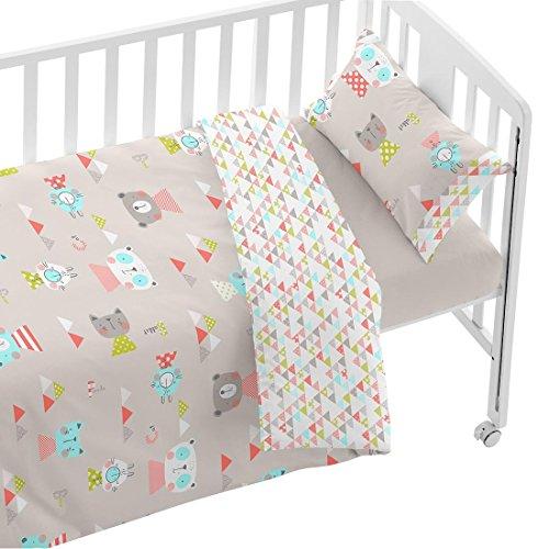 Burrito Blanco Juego de Funda Nórdica Infantil 006 de Cuna de 70x140 cm para Bebé Algodón 100% Diseño de Animales y Triángulos, Beige