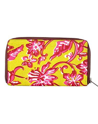 Bella cotone Pochette stampato floreale da Rajrang Peridot Yellow & Dark Pink
