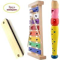 Hölzernes-Xylophon für Kinder. Kindermusikinstrument mit 2 kindersicheren Holzschlägeln, 1 Flöte (multicolo) und 1 Mundharmonika Beste perfekt dimensionierte Spieluhr für Kleinkinder mit klar kl