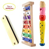 Hölzernes-Xylophon für Kinder. Kindermusikinstrument mit 2 kindersicheren Holzschlägeln