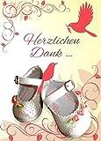 Danksagungskarten Taufe Mädchen mit Innentext Motiv Rosa weiße Schuhe 10 Klappkarten DIN A6 im Hochformat mit weißen Umschlägen im Set Taufekarten Dankeskarten Dankeschön Karten Kuvert Danke sagen K89
