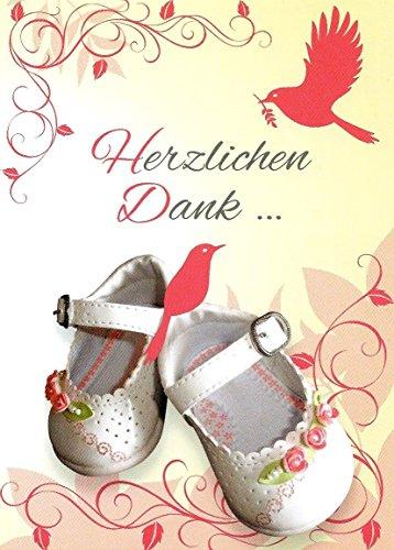 Danksagungskarten Taufe Mädchen mit Innentext Motiv Rosa weiße Schuhe 10 Klappkarten DIN A6 im Hochformat mit weißen Umschlägen im Set Taufekarten Dankeskarten Dankeschön Karten Kuvert Danke sagen K89 -