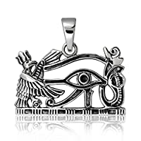WithLoveSilver 925 Sterling Silver Ancient Egyptian Eye of Horus Symbol of Protection Pendant