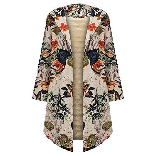 Cappotti Invernali per Donne Vendita di Cotone Femminile Linen Parka Donna Oversize Outerwear Vintage Print Button con Cappuccio...