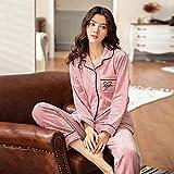 GZZ Pyjama-Set Frauen Nachtwäsche Loungewear Winter Flanell Korallen Fleece Revers Strickjacke Minimalistisch Dicker,H-M
