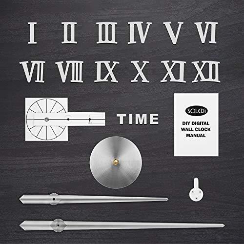 51id0iwMAeL - SOLEDI Reloj de Pared 3D, DIY Reloj de Etiqueta de Pared Decoraciš®n Ideal para la Casa Oficina Hotel Restaurante, llenado Pared Vacšªa 3D Reloj (Plata)