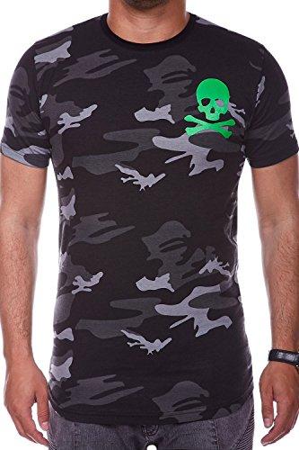 MT Styles Oversize T-Shirt SKULL Camouflage RS-939 Schwarz