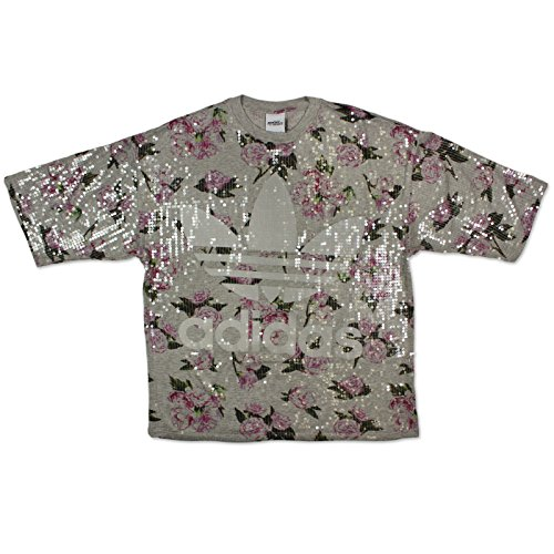ADIDAS ORIGINALS by JEREMY SCOTT FLORAL SEQUIN TEE PAILLETTEN GRAU OVERSIZED Grau