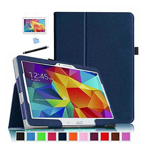 Galleria fotografica Aeontop 4 en 1 Custodia Flip Cover Pelle Stand Rigida per Samsung Galaxy Tab 4 10.1 T530 / T531 / T535 - Custodia in pelle con supporto supporto e costruita in chiusura magnetica,Pellicola di Protezione e dello stilo Incluse,Blu
