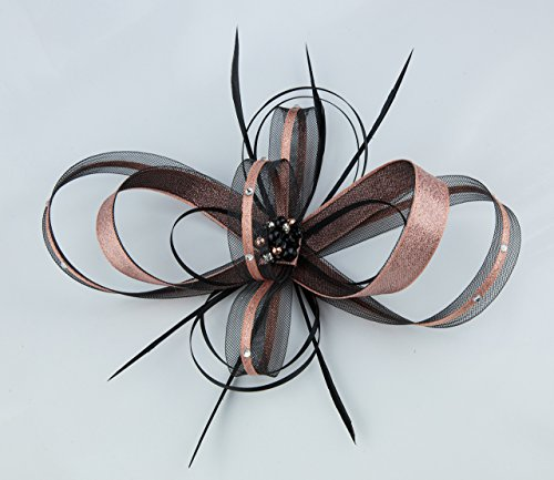 metallic-rose-gold-and-black-fascinator-with-diamante-and-bead-cluster-on-a-clip