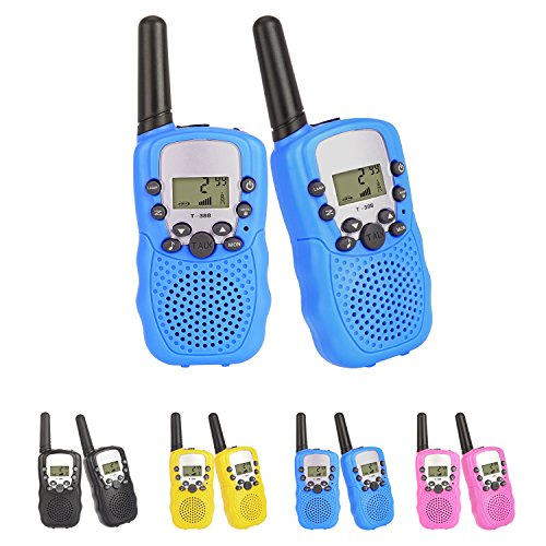 2 pcs Walkie Talkies Radio 3KM Range 8 Channels VOX Flashlight Battery Operated Handset with Indicator and Belt Clip for Children Outdoor Camping Hiking (Batteries Not Included) (Blue * 2)