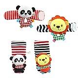 YeahiBaby El juguete animal de las muñecas de la felpa suave 4PCS y los calcetines del buscador del pie fijaron el mejor juguete educativo temprano del desarrollo del regalo para los bebés y las muchachas infantiles del bebé (león y panda)