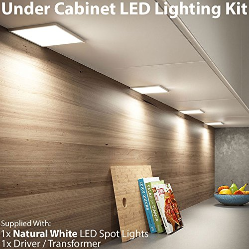 1x 6W LED Küche flach Schrank Panel Spot Beleuchtung & Treiber Kit gebürstetem Nickel-Finish, Natural weiß–Down unter Schrank–Cablefinder (Gebürstetem Nickel Leuchten)
