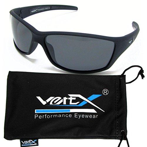 VertX Herren polarisierte Sonnenbrille Sport im freien ausgeführt Weichgummi-Finish - Schwarz Frame - Getöntes
