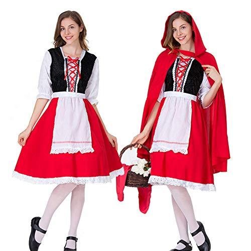 EDtara Oktoberfest Bekleidung Zubehör Frau große größe Bier Festival hohl Spitzenkleid Halloween Party Special Festival kostüm uniform red S (Bier Frau Kostüm)
