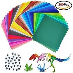 Papel para origami, jingxu, 200hojas, papel para manualidades para proyectos de artes y manualidades + 100 ojos saltones, color colorful 15 x 15cm