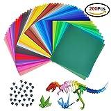 Jingxu 200 Blatt Origami Papier Faltblätter 15*15cm Faltpapier sortiert im 50 Farben Buntes Papier mit 100 Stück Augen Bastelpapier Set für Kinder,Origami und Bastelprojekte